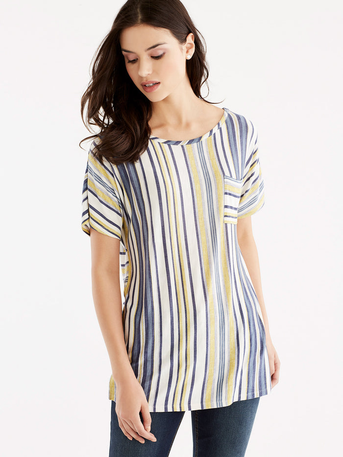 Multi-Striped Pocket Tee