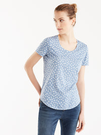 Basic Scoop Neck Tee, Plus Size Color Ivory Bluebell