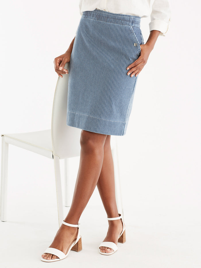 Pinstripe Knit Pencil Skirt