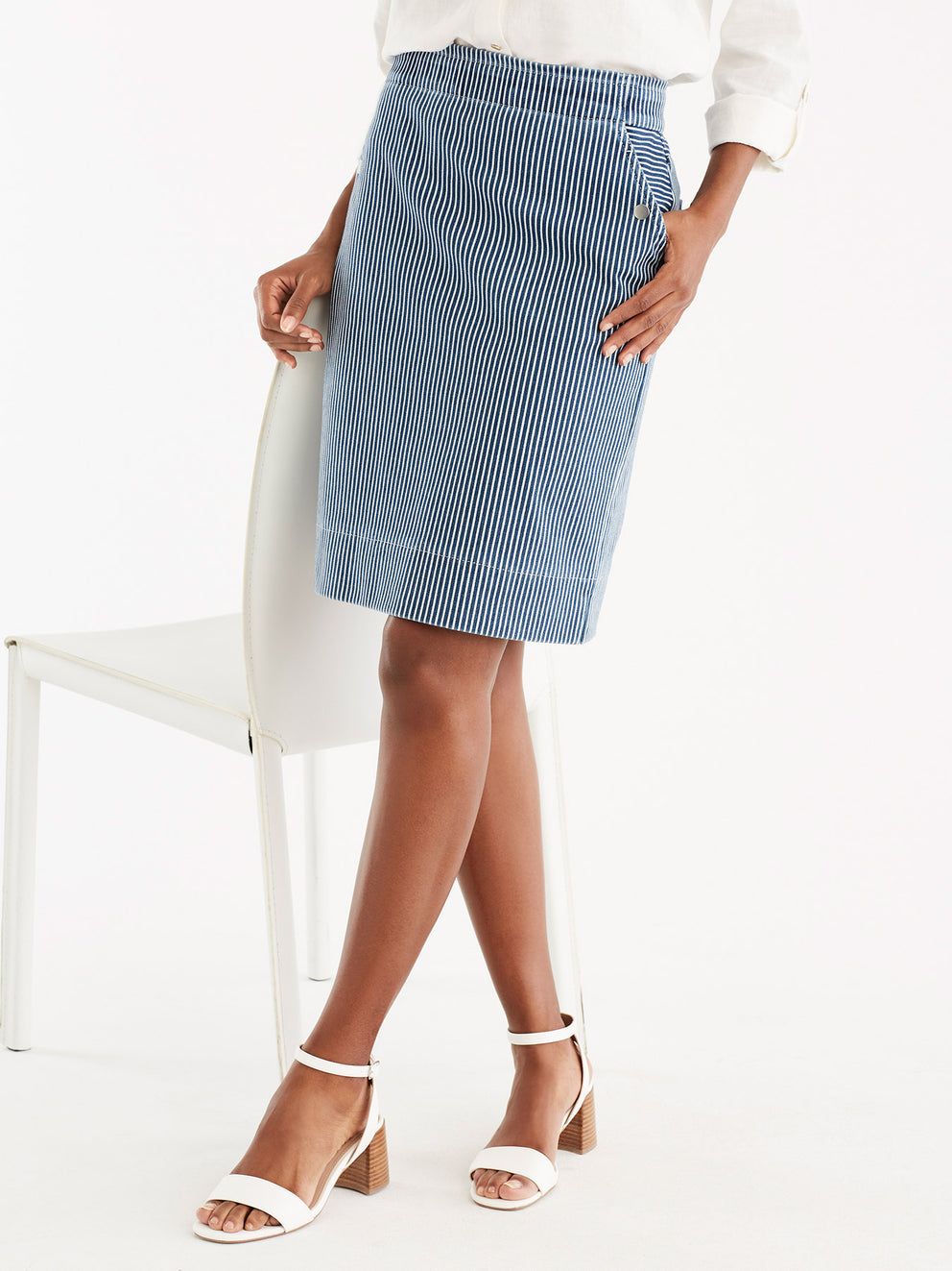 Pinstripe Knit Pencil Skirt Color Ink Wash