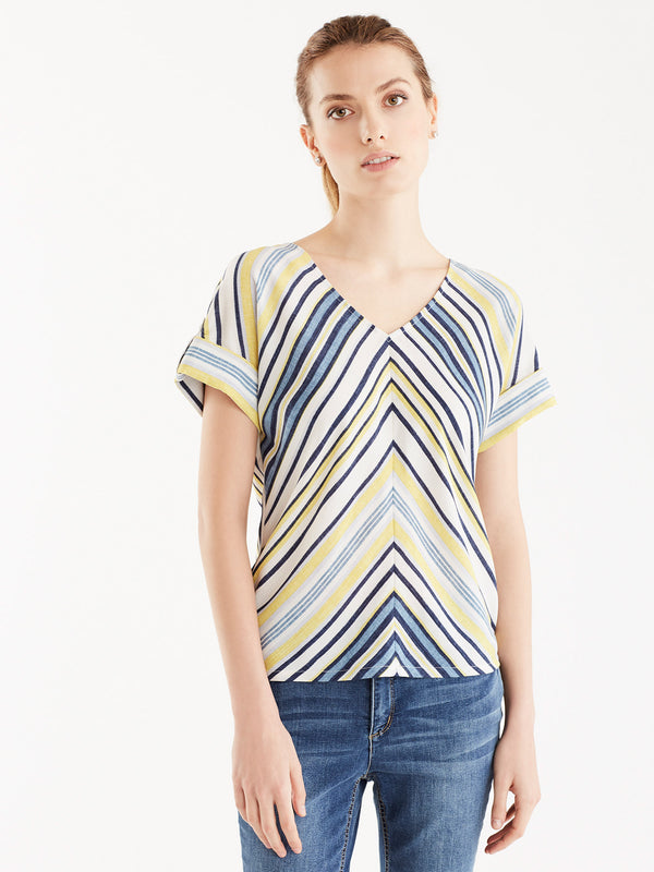 Multi-Striped V-Neck Tee
