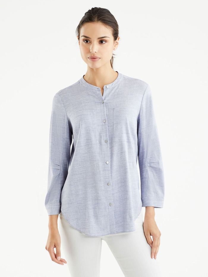 Pleated Sleeve Collarless Shirt