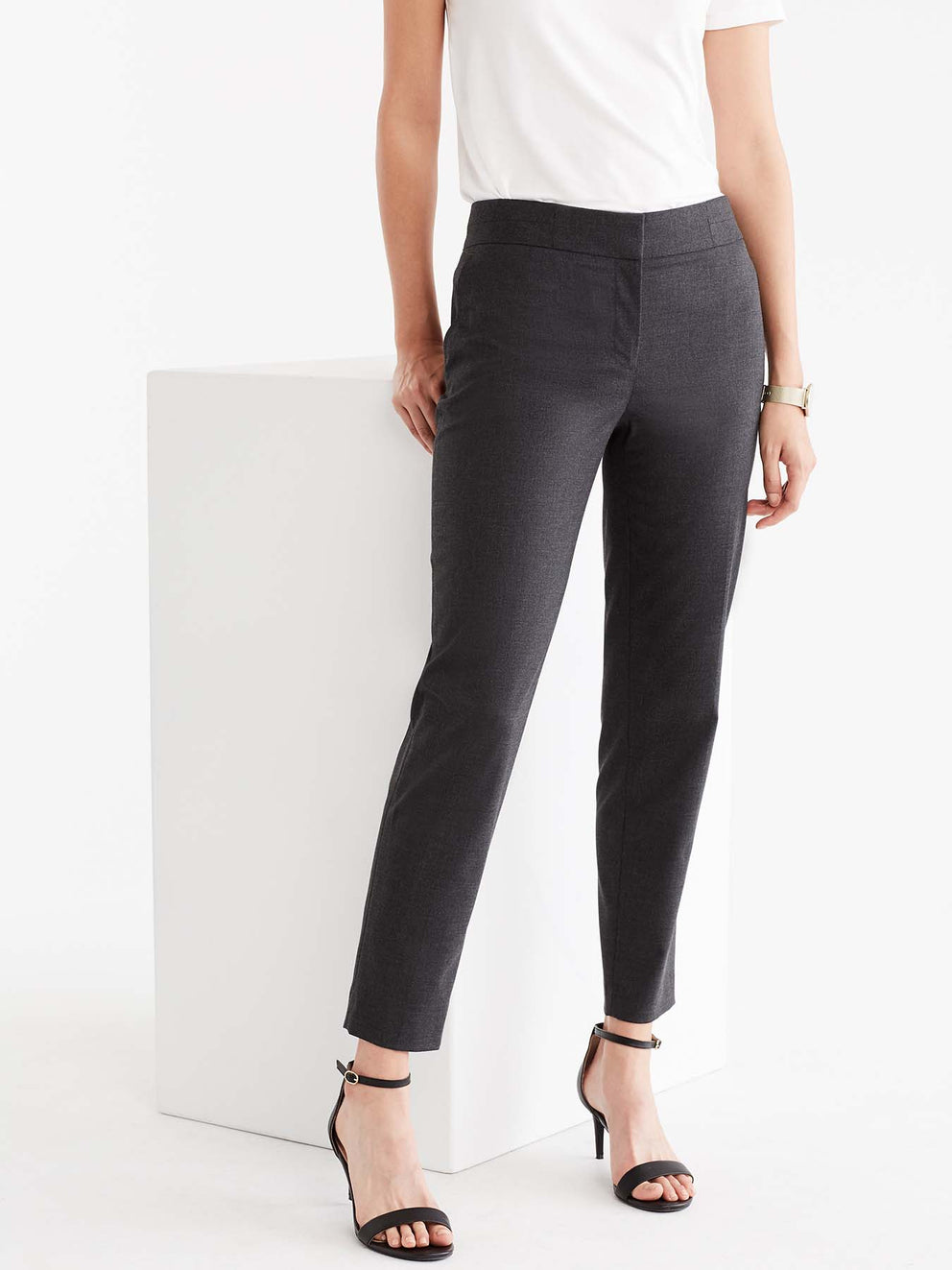 Pewter Washable Grace Ankle Pant Color Grey