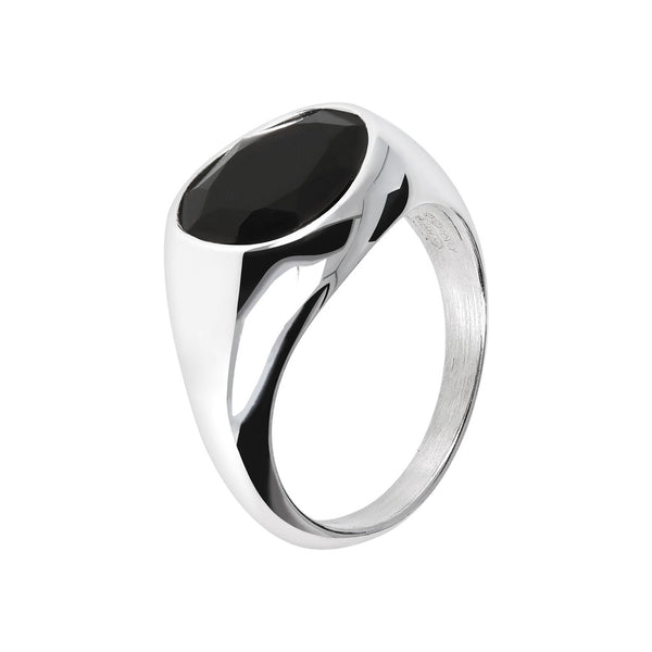 SPICE IT UP GLAMLINE  RING W/ FACETED BLACK SPINEL GEMSTONE - WSBC00215