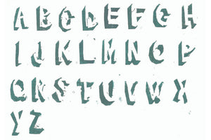 The alphabet produced from hand-carved stamps.