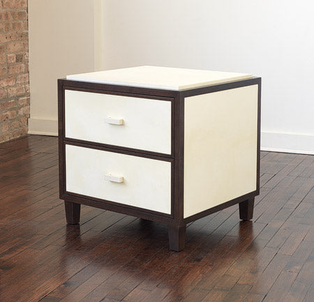 2-Drawer Oak and Vellum Nightstand
