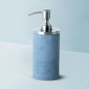 concrete round stainless steel lid soap dispenser grey