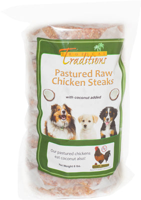 Pastured Raw Chicken Steaks for Dogs - 6 lbs. Total