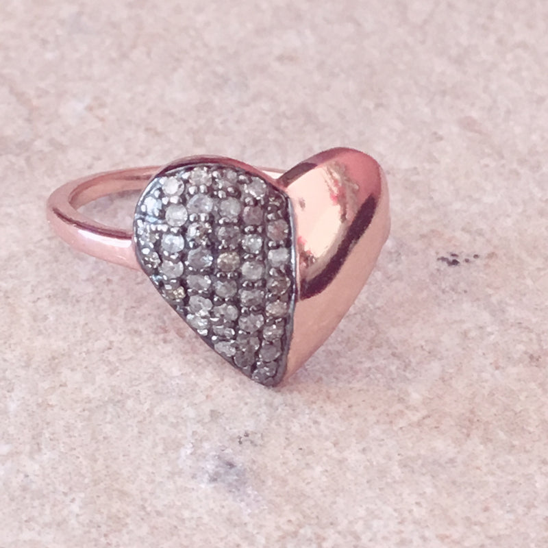 Diamond Half & Half Heart Ring Rosegold