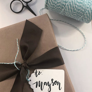 Customized Hand Lettered Tag and Gift Wrap