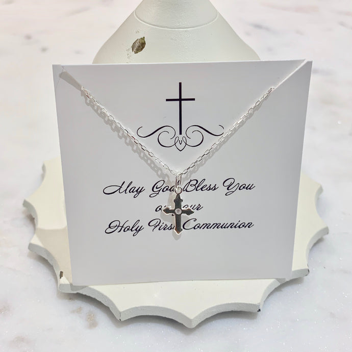 Cross Necklace | First Communion Gift | Easter Gift | Sterling Silver