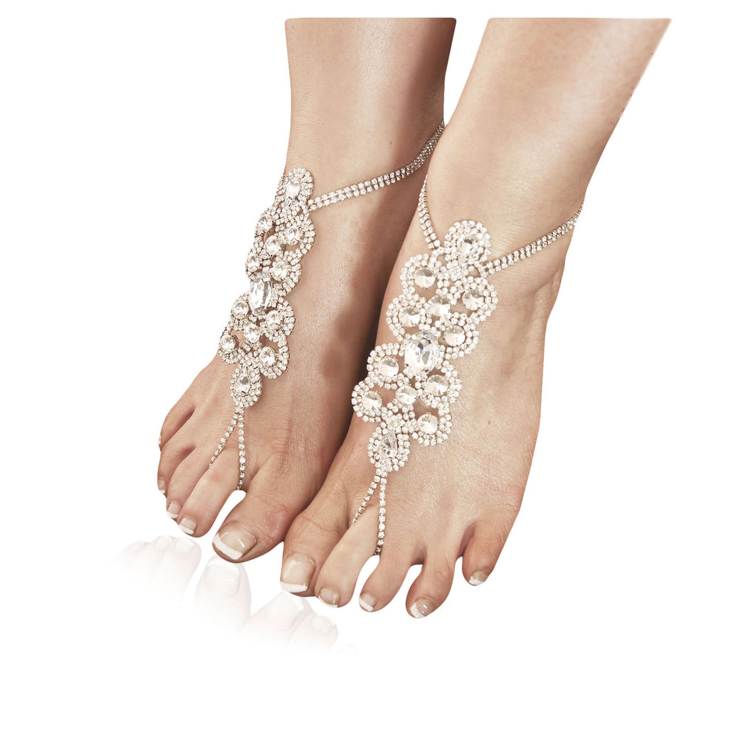 Statement diamante barefoot sandal – Silver