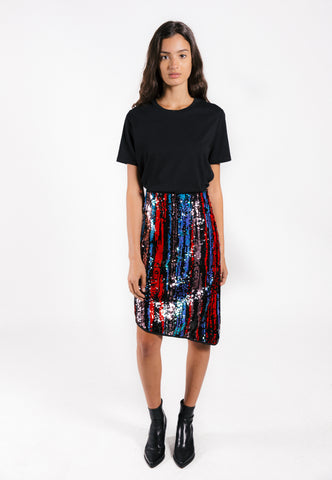 Lenon Collection. Navy/red multi sequins skirt. Featuring an asymmetrical hemline and with black trim. Back zipper detail.