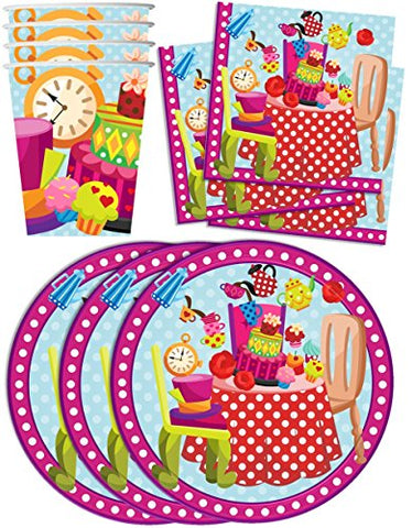 Mad Hatter Tea Party Birthday Party Supplies Set Plates Napkins Cups Tableware Kit For 16 By Birthday Galore