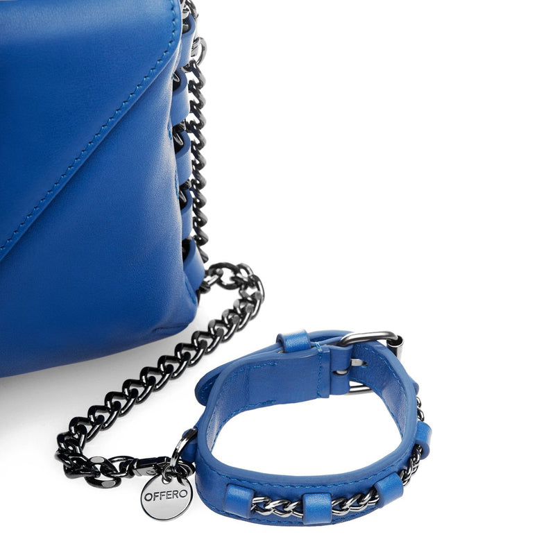 LA cobalt anti-theft handbag and chain detail