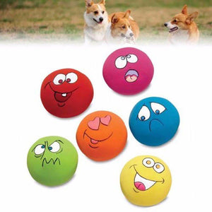 6pcs/Set Pet Dog Natural Latex Squeaky Toy Puppy Play Squeaky Ball With Face Fetch Toy Bright Chew Toys