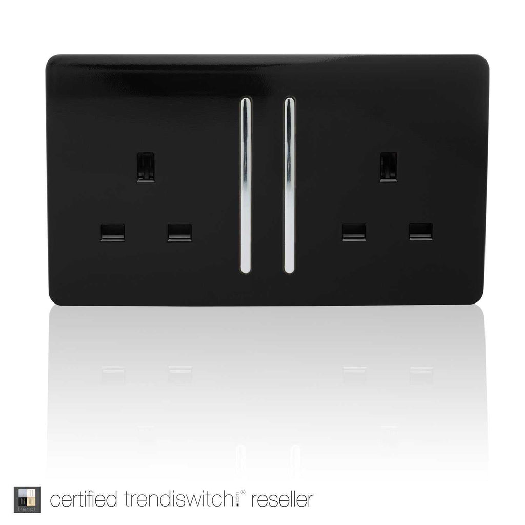2 Gang 13amp Long Switched Double Socket Black      11.95  iLite Lighting