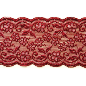 "5 3/4"" Red with White Stretch Lace #139"