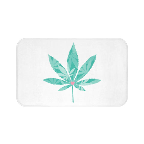 Heart Weed White Bath Mats - 420 Mile High
