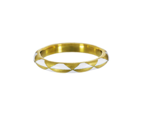 Gold and White Enamel Harlequin Ring - TWISTonline