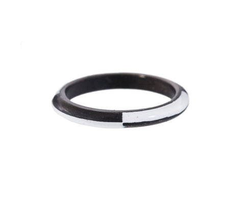 White Enamel and Oxidized Palladium Ring - TWISTonline