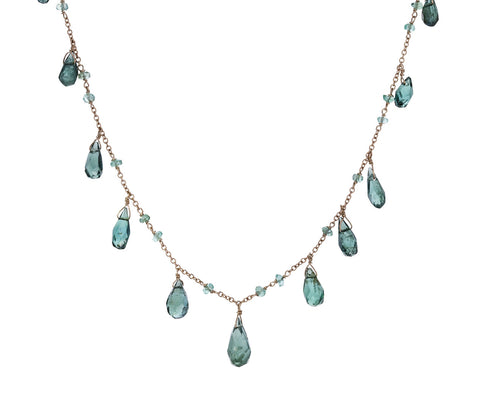 Green Tourmaline and Emerald Micro Waterfall Necklace - TWISTonline
