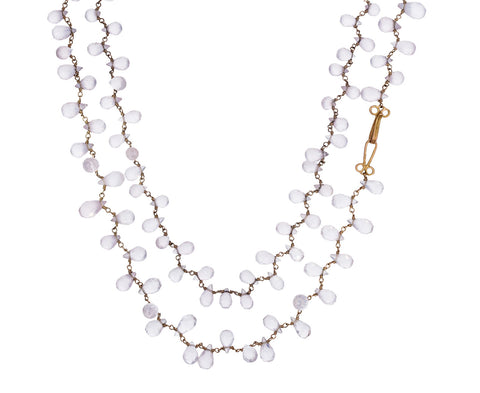 Rose Quartz Rosary Gancino Necklace - TWISTonline