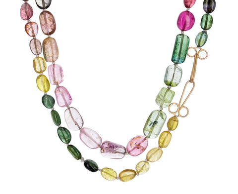 Long Multi-Color Tourmaline Gancio Necklace - TWISTonline