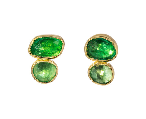 Double Orbit Emerald Stud Earrings