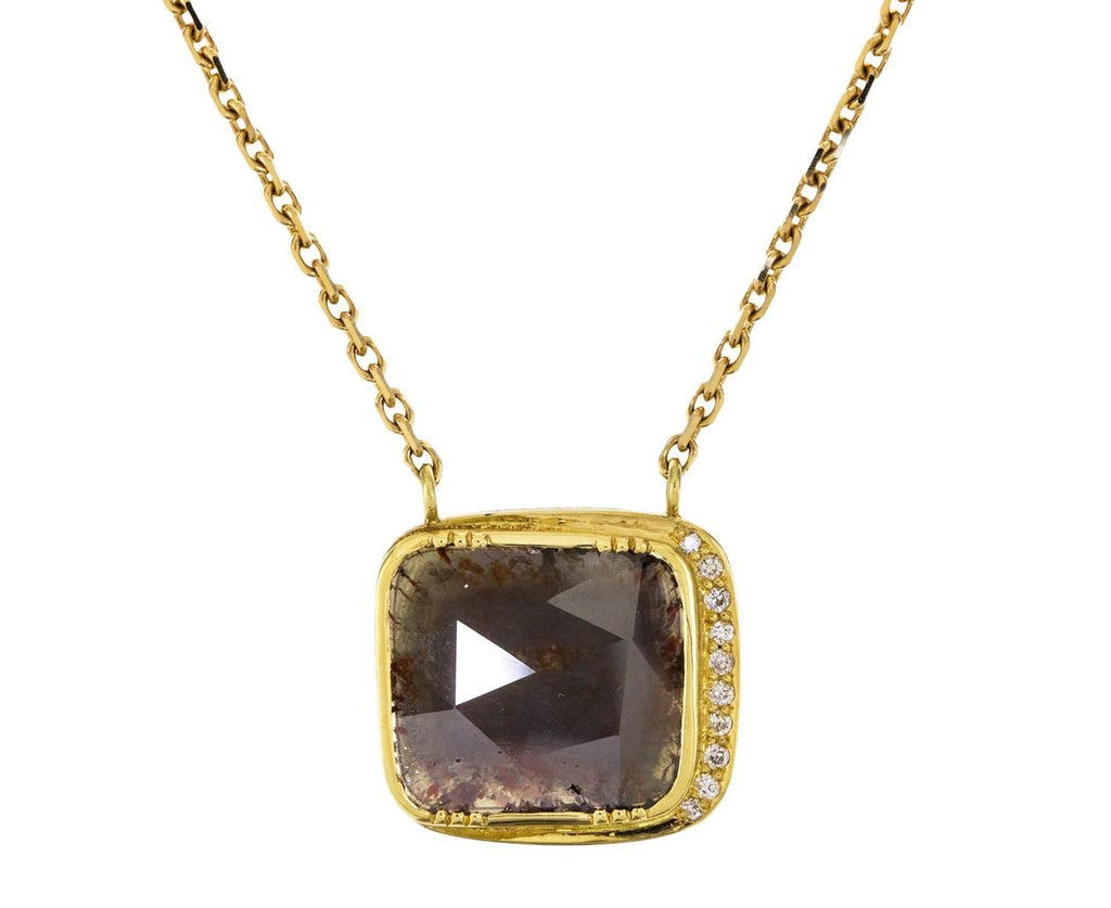 Espresso Diamond Slice Halo Pendant Necklace - TWISTonline