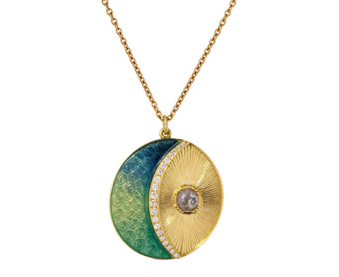 Moonbeam Enamel Diamond Necklace