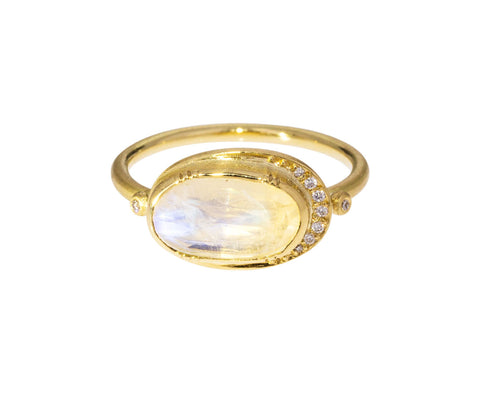 Moonstone Ellipse Halo Ring