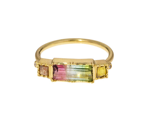 Rainbow Tourmaline Diamond Bar Ring
