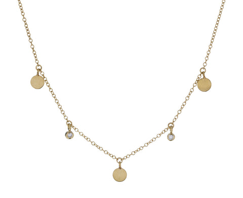 Diamond Disc Dangling Necklace