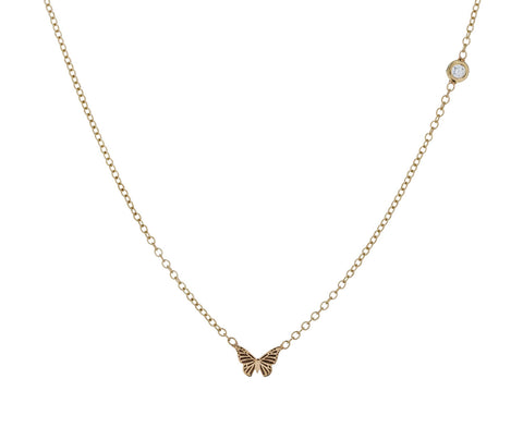 Itty Bitty Gold and Diamond Butterfly Necklace