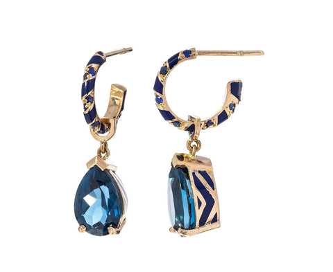 Blue Sapphire and Topaz Lacquer Earrings - TWISTonline