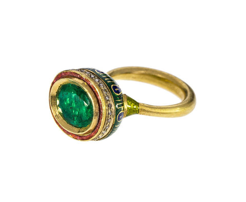 Emerald and Diamond Enamel Ring - TWISTonline