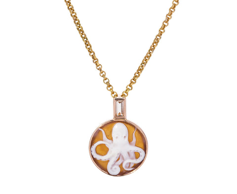 Octopus Cameo and Yellow Kyanite Pendant ONLY
