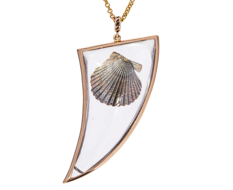 Crystal Shark Fin and Natural Shell Pendant ONLY