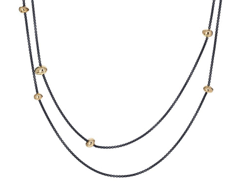 Floating in the Dark Gold Nugget Necklace - TWISTonline