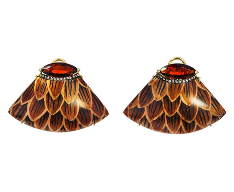 Marquetry Overlap Earrings with Diamonds and Citrine - TWISTonline