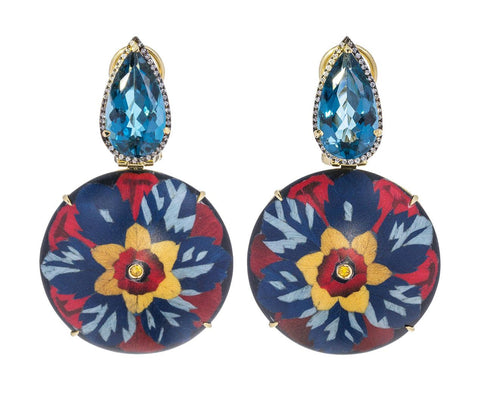 Topaz and Diamond Marquetry Flower Drop Earrings - TWISTonline