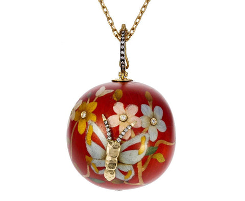 Marquetry Red Butterfly Pendant with Diamonds - TWISTonline