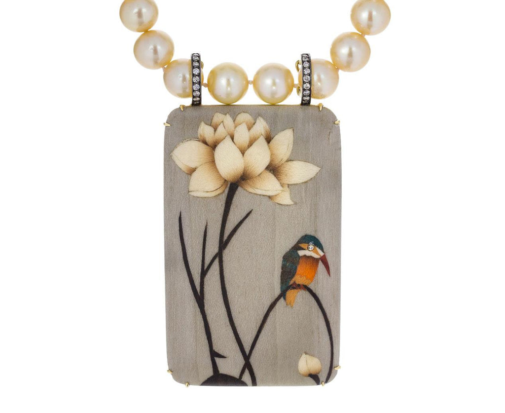 Marquetry Bird Pendant Pearl Necklace - TWISTonline