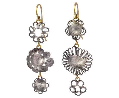 Silver Triple Flowery Earrings