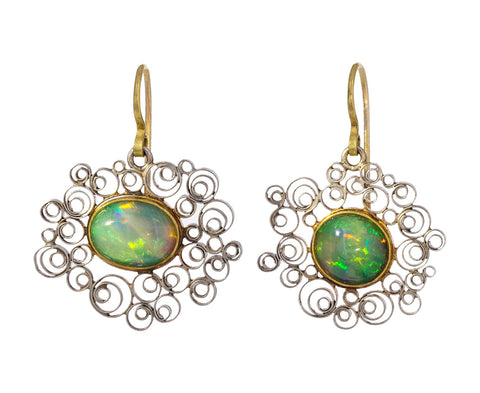 Water Opal Platinum Spirally Earrings - TWISTonline
