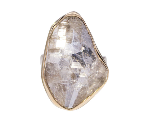 Surface Cut Rock Crystal Quartz Ring