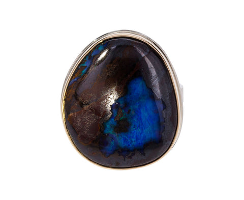 Asymmetrical Boulder Opal Ring