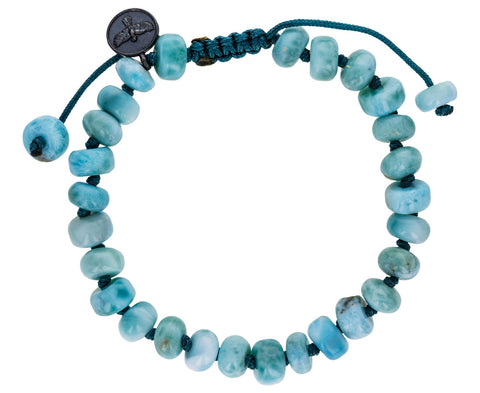 Smooth Larimar Beaded Bracelet