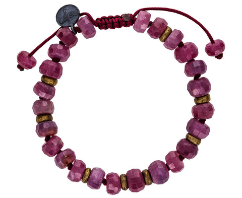 Ruby and Brass Beaded Bracelet